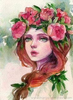 Beautiful watercolor portrait by Margaret Morales.