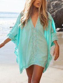 Blue V Neck Crochet Beach Dress