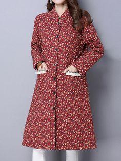 Sale 22% (36.89$) - Vintage Floral Printing Long Sleeve Loose Women Long Coat