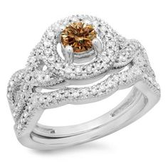 Share for $20 off your purchase of $100 or more! 1.00 Carat (ctw) 18K White Gold Round Cut Champagne & White Diamond Ladies Swirl Bridal Halo Engagement Ring With Matching Band Set 1 CT - Dazzling Rock #https://www.pinterest.com/dazzlingrock/