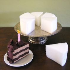Use foam to make cake for the Bakery Center.  Great way for children to get involved in the prop making process.
