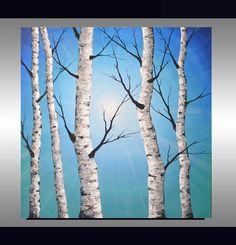 ORIGINAL Abstract Contemporary Art Textured Birch Tree Painting 24x24 Home Decor Modern Aspen Tree Artwork Blue Landscape, Wall Decor