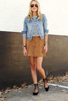 Fall essentials: Denim, stripes, suede.