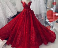 Red Ball Gowns, Red Gowns, Ball Gown Dresses, Prom Dresses, Pretty Quinceanera Dresses, Pretty Dresses, Red Wedding Gowns, Prom Dress With Train, Quince Dresses