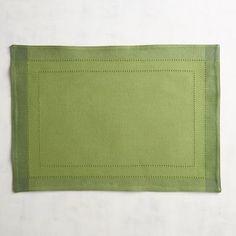 Hemstitch Pine Green Placemat