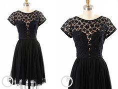 1950s dress/ silk chiffon/ illusion bust by MidnightMart on Etsy, $158.00