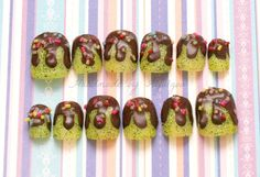 3D nails chocolate covered lime fake sweets sweet by Aya1gou, $17.50