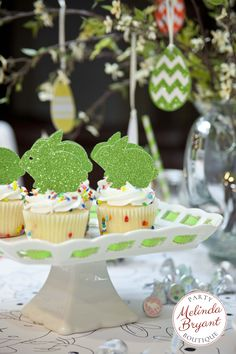 Glitter bunny cupcake toppers!  Choose any color.  Perfect for Easter, a Spring party, or a baby shower.  Click on the photo to shop now. // Easter ideas