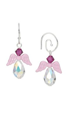 Earrings with Pink Pewter Angel Wings and Swarovski® Crystal Beads by Marlynn McNutt. #angels  #earrings