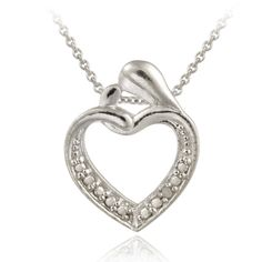 Sterling Silver Diamond Accent Open Heart Pendant - This attractive pendant features an open heart.  It is accented by pave detailing giving the impression of sparkling stones.  There is a single genuine diamond set in the midst of the design.  Crafted of sterling silver pendant dangles from an 18-inch rolo chain.  Total diamond weight: .01ct.      Product Details              Metal Type:     sterling-silver       Metal Stamp:     925-sterling       Width:     15.15 mm       Height:     18.8…