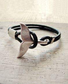 Bracelet queue de baleine - nautique Bracelet Bijoux cuir et métal