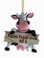 Country Heritage Farm Fresh Milk Black & White Cow Animal Christmas Ornament