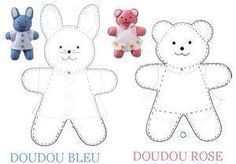 Felt craft inspiration: lapin_ours_copie Sewing Toys, Baby Sewing, Sewing Crafts, Sewing Projects, Fabric Toys, Felt Fabric, Fabric Sewing, Felt Patterns, Sewing Patterns