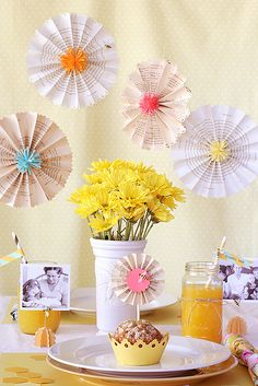 "Love everything about this theme, ""Queen Bee."" Love the paper flowers, love the mason jars, love the photos, love, love, love!"