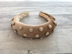 Stunning Deeply Padded Beige Gold Flock Velvet Headband Alice Band with Rose Gold Diamante and Faux Pearl Flower Jewels 4 cms Wide Fascinator, Headpiece, Alice Band, Fabric Headbands, Pearl Flower, Hair Jewelry, Gold Jewelry, Hair Accessories, Velvet