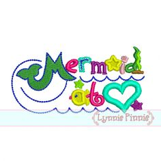 Embroidery Designs - Mermaid at Heart Applique 4x4 5x7 6x10 - Welcome to Lynnie Pinnie.com! Instant download and free applique machine embro...