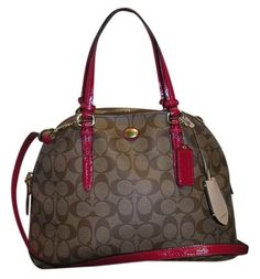 Coach Peyton Signature Cora Domed Satchel Brass/khaki/red And Cross Body Handbag #f24606 Shoulder Bag. Get one of the hottest styles of the season! The Coach Peyton Signature Cora Domed Satchel Brass/khaki/red And Cross Body Handbag #f24606 Shoulder Bag is a top 10 member favorite on Tradesy. Save on yours before they're sold out!