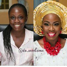 Before and After #asoebi #asoebispecial #speciallovers #wedding #makeover #dope #headgear #bead #facebeatby @da_veeshome