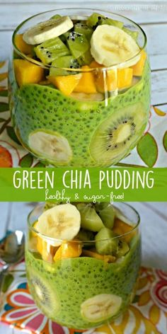 Green Chia Pudding is perfect for a nutritious breakfast a satisfying snack or a sugar-free dessert. It's easy to make with only a few ingredients. Plant based vegan gluten free sugar free oil f (Raw Ingredients Dairy Free) Raw Vegan Recipes, Vegan Breakfast Recipes, Vegetarian Recipes, Healthy Dessert Recipes, Raw Vegan Breakfast, Chia Pudding Breakfast, Breakfast Dessert, Raw Vegan Dinners, Overnight Chia Pudding