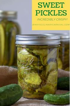 These Sweet Pickles from Binky's Culinary Carnival can be Quick Canned or Water Bath Canned, for longer storage! Once you make them yourself, you will never buy another store bought pickle! See all of our tips to keep them crispy. Canning Sweet Pickles, Best Pickles, Water Bath Canning, Black Tea Bags, Cheese Rolling, Breakfast Items, Fresh Fruits And Vegetables, Ham And Cheese