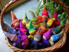 Ravelry: irishhuntr's Basket full of gnomies(click underlined pattern title on Ravelry page) Knitting For Kids, Free Knitting, Baby Knitting, Knitting Patterns, Crochet Patterns, Knitting Toys, Knit Or Crochet, Crochet Crafts, Yarn Crafts