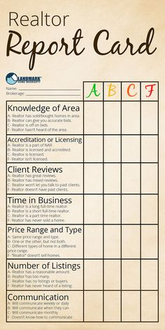 Use this report card to make sure your realtor is one you want to hire!