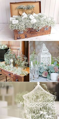 Baby's breath everywhere. Chic Wedding, Rustic Wedding, Wedding Reception, Our Wedding, Dream Wedding, Flower Decorations, Wedding Decorations, Deco Champetre, Deco Floral