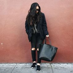 Get this look: http://lb.nu/look/8004844  More looks by Tiffany Wang: http://lb.nu/user/21630-Tiffany-W  Items in this look:  Karen Walker Sunglasses, Mango Leather Jacket, Zara Jacket, Gap Jeggings, Céline Tote, Nike Sneakers   #casual #grunge #street #streetstyle #gap #rippedjeans #zara #menswear #nike