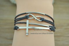 Infinity bracelet  Wish cross bracelet  Gray wax rope by GiftShow, $3.99 Fashion handmade leather bracelet crafted personality,best friendship gift.