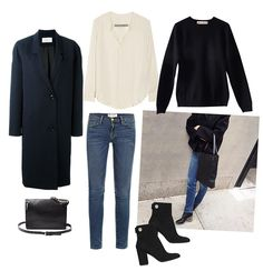 Sea of Shoes Collage - cream silk blouse, black crew neck, straight leg jeans, ankle boots