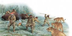 A group of Stone Age hunters ward off some hungry cave lions from their woolly mammoth kill Panthera Leo Spelaea, Prehistoric Man, Prehistoric Creatures, Early Humans, Primitive Survival, Extinct Animals, Iron Age, Historical Pictures, Ancient History