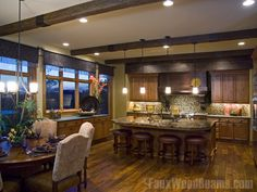 Kitchen Design Gallery | Faux Wood Beam Kitchen Photos.  Shows the how the different color woods look together.  This is a great resource for all things faux wood beams.