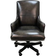 Parker House High Back Leather Executive Chair; Smoke (Grey) Wipe