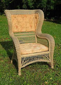 Bedroom chair upholster wicker Corner house antiques