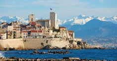 An incredible winter day in Antibes from the beach looking at the Southern Alps