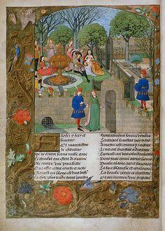 Scuola fiamminga, L'ozio ammette il poeta nel giardino delle delizie, 1495 circa, Londra, British Library
