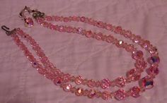 VINTAGE PINK AURORA CRYSTAL GLASS BEAD DOUBLE STRAND NECKLACE