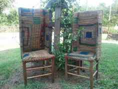 quilt covered make-do chairs