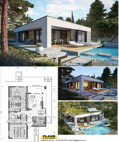 Modern Small House Design, Green House Design, Contemporary House Plans, Small Modern House Plans, Minimalist House Design, Residential Building Design, Home Building Design, Flat Roof House, Facade House