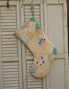 Large Christmas Stocking Made from Antique Cutter by FarmhouseRose