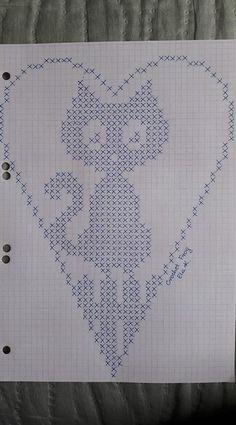 Ideas For Crochet Heart Stitch Punto Croce Filet Crochet, Easy Crochet, Crochet Lace, Cross Stitch Designs, Cross Stitch Patterns, Beading Patterns, Crochet Patterns, Hand Embroidery, Embroidery Designs
