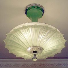 819 Vintage 30's 40's Ceiling Light Lamp Fixture  Chandelier Jadeite SUNFLOWER #MadeinUSA