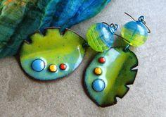RESERVED SOLD to Anne! Unique, OOAK Modern Art Gallery Statement Dangle Earrings, Artisan, Handmade lampwork, copper enamel, Boho jewelry