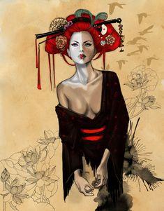 Geisha by Delfine-S-Kanashii.deviantart.com on @DeviantArt