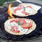 Grilled Tomato and Basil Pizzas Recipe #easy #spring