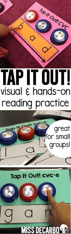 Use tap-on lights and these printable word mats and cards for a fun and hands-on way to practice decoding words! This makes a great intervention activity will help readers decode short vowel words (CVC words). Reading Practice, Reading Skills, Teaching Reading, Guided Reading, Teaching Ideas, Reading Groups, Word Work Activities, Reading Activities, Family Activities