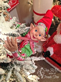 RAZ 2015 Peppermint Toy Collection at Trendy Tree, decorated RAZ tree Christmas Elf Doll, Merry Christmas To All, Christmas Gingerbread, Beautiful Christmas, Handmade Christmas, Christmas Time, Christmas Crafts, Xmas, Disney Christmas Decorations