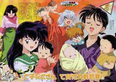 InuYasha - such cute babies! Sango Y Miroku, Kagome Higurashi, Inuyasha Fan Art, Kagome And Inuyasha, Cd Drama, Anime Manga, Anime Art, Pokemon Comics, Manga Covers