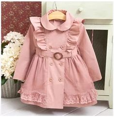 Baby Outfits, Kids Outfits, Baby Girl Fashion, Kids Fashion, Fashion Clothes, Girls Trench Coat, Trench Coats, Kids Coats Girls, Children Clothes