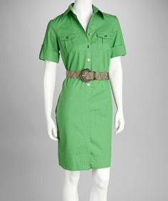 Take a look at this Sharagano Apple Belted Shirt Dress by Sharagano on #zulily today!